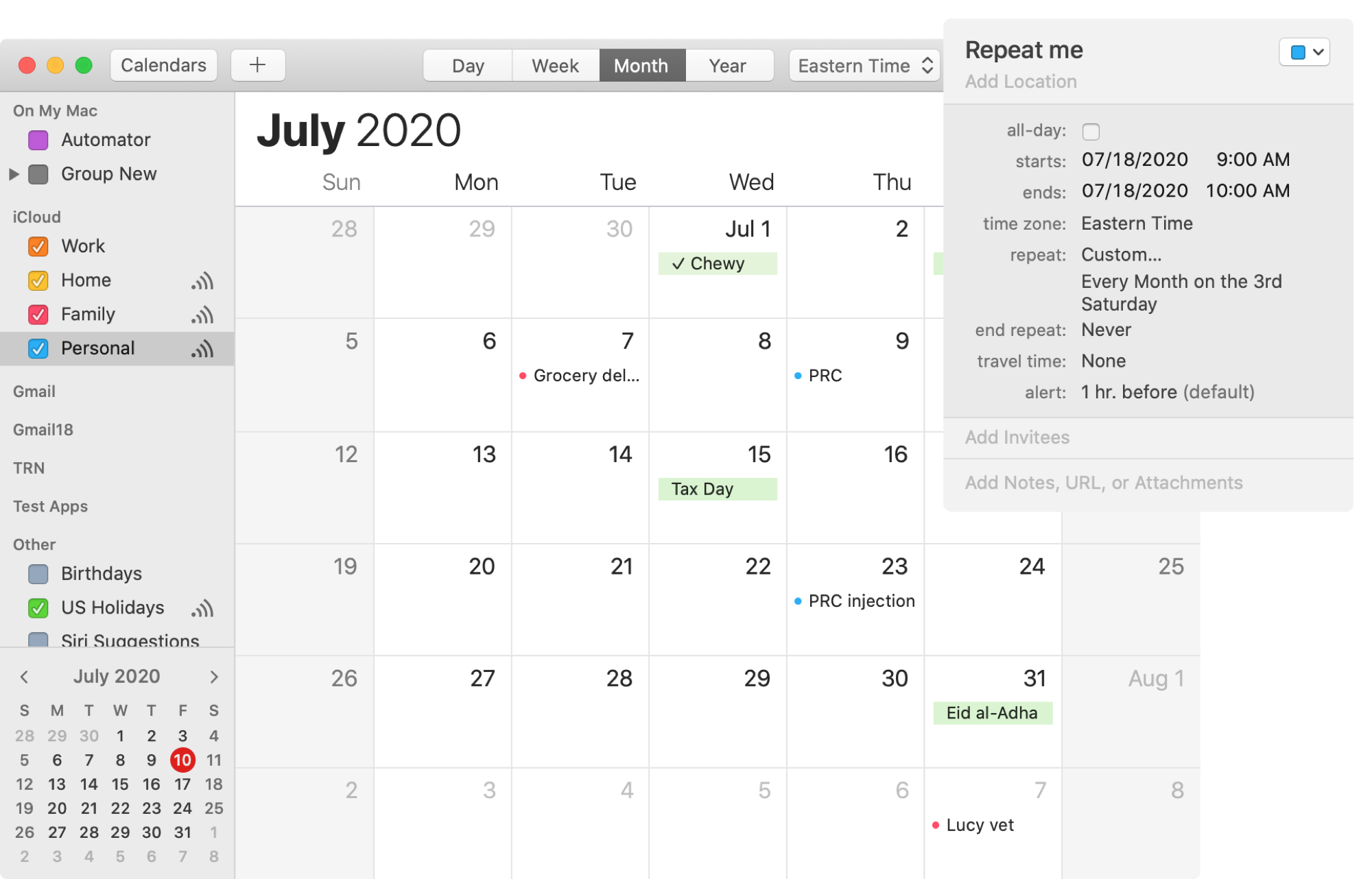 Repeating Event Calendar Mac