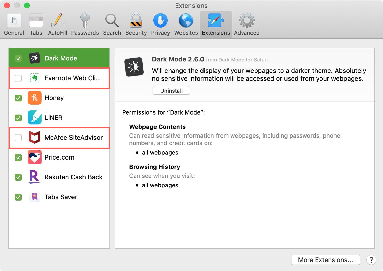 Safari Disable Extensions