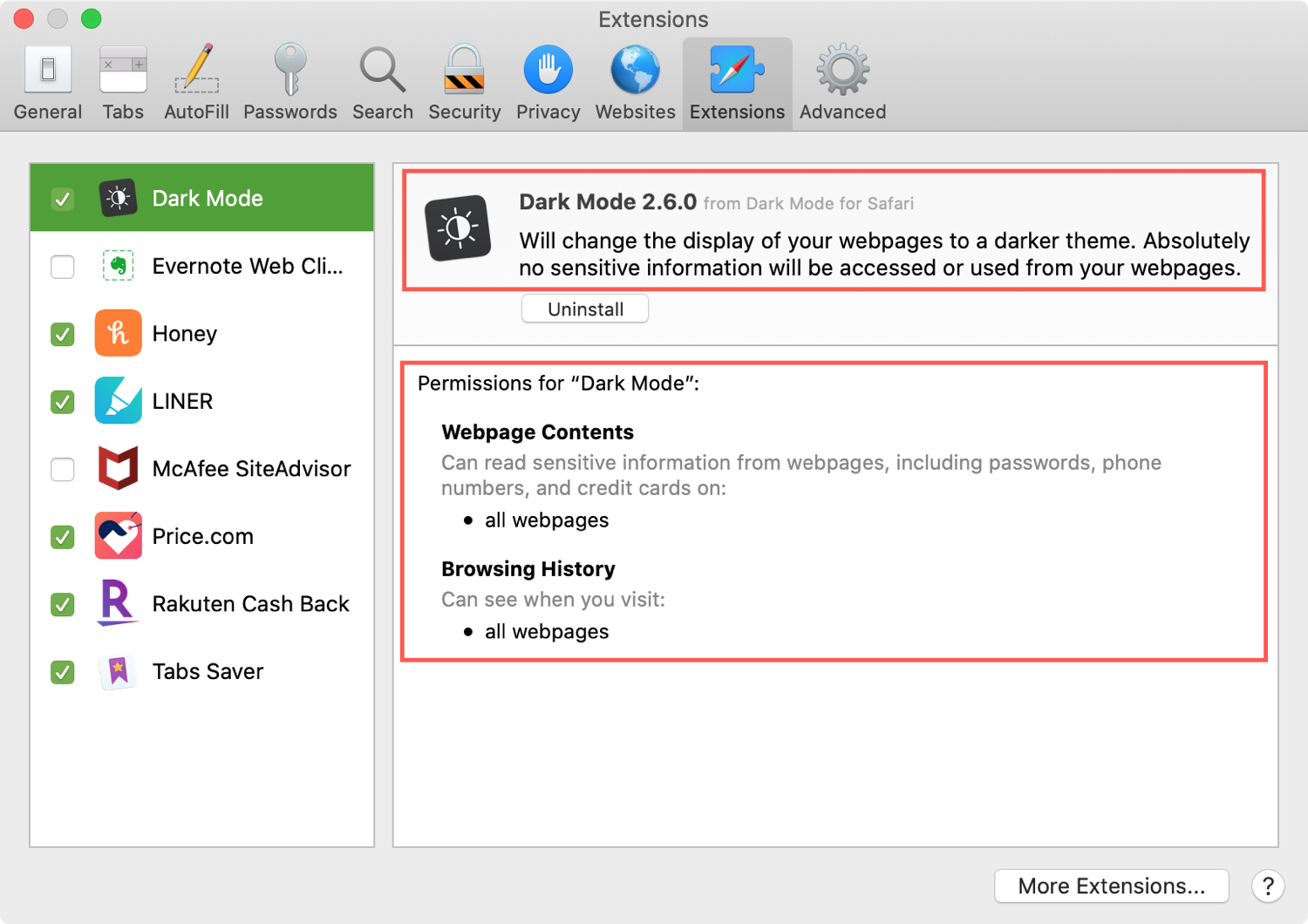 Safari Extensions Version Permissions
