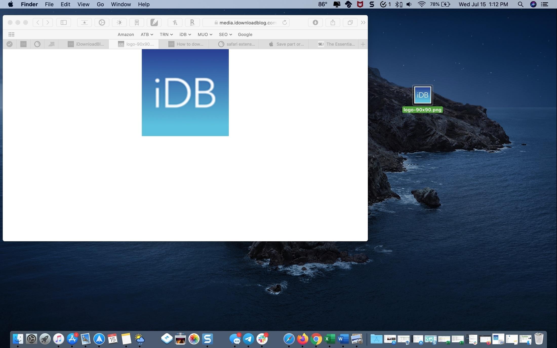 Safari Saved Image on Desktop Mac