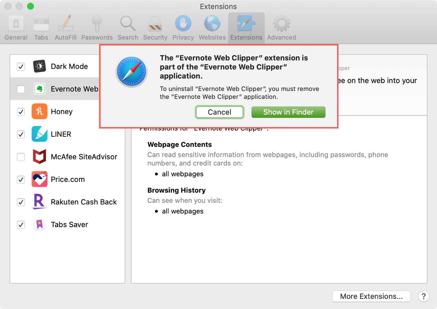 Safari Uninstall Extension - Evernote