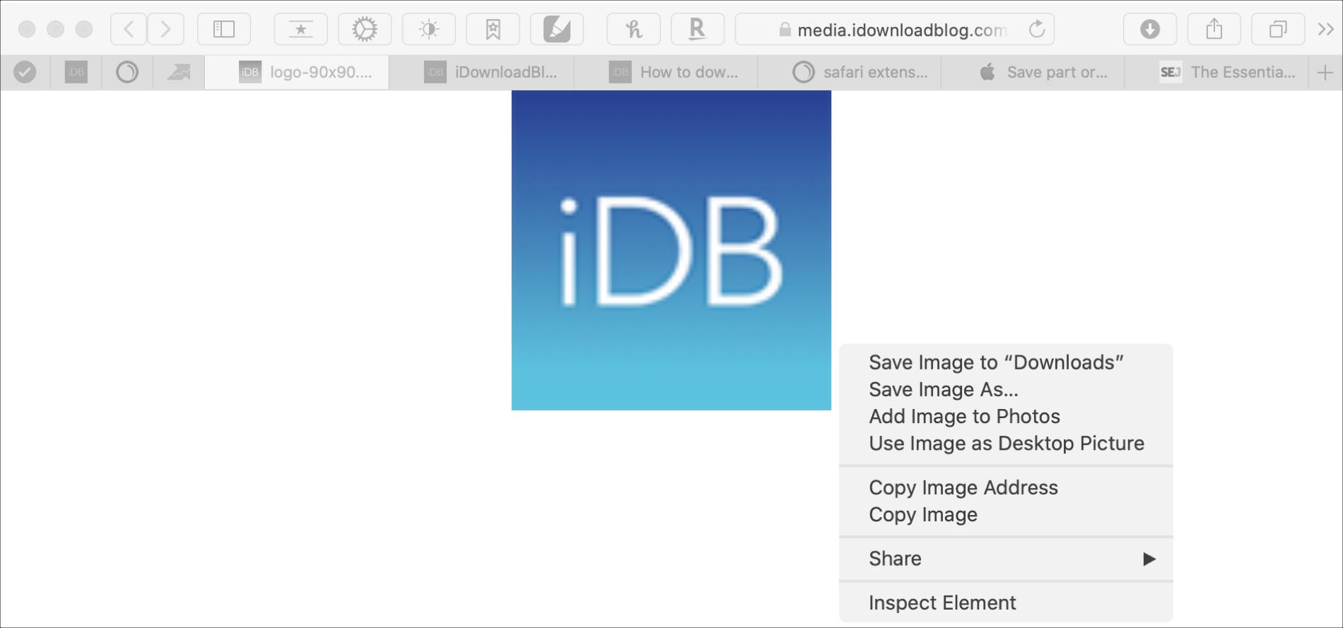Save Image Mac Safari iDB