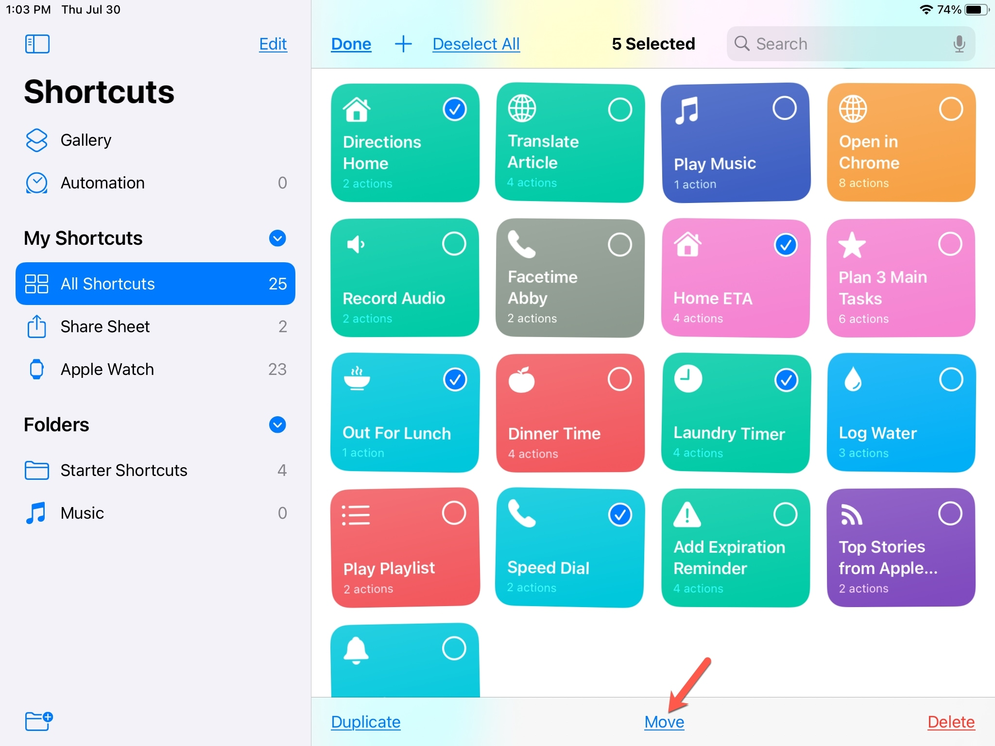 Select Multiple Shortcuts iPad