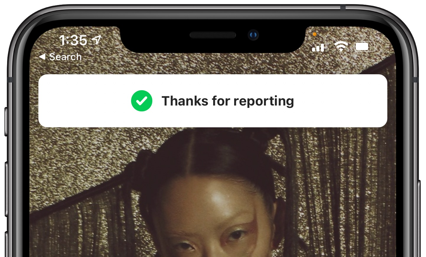 "Report Shazam songs - ""Thanks for reporting"" message"