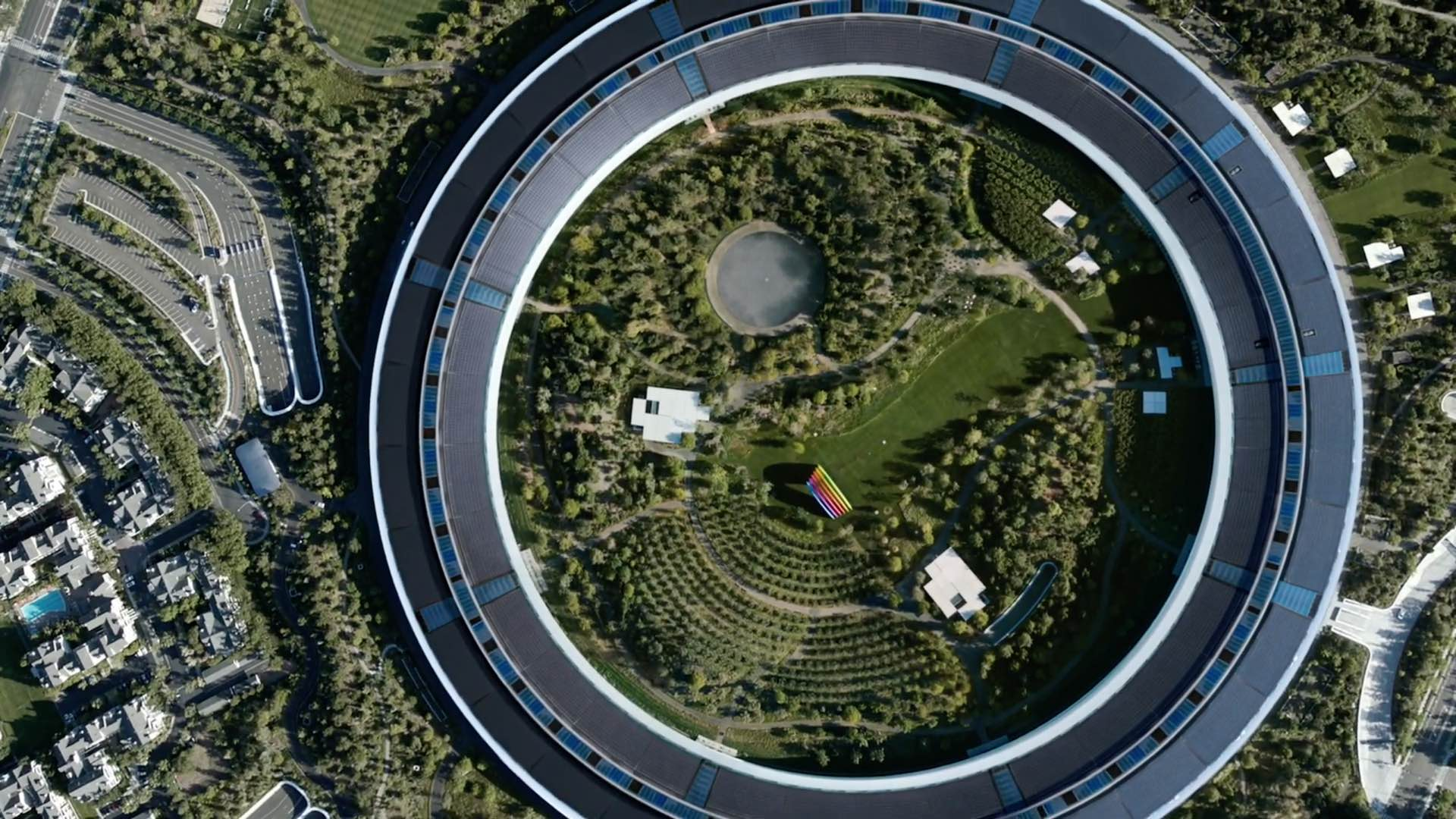 A photo showing an aerial view of the Apple Park headquarters