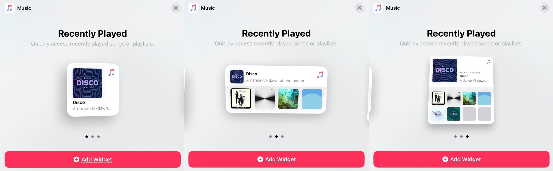 Widget Gallery Music Sizes iPad