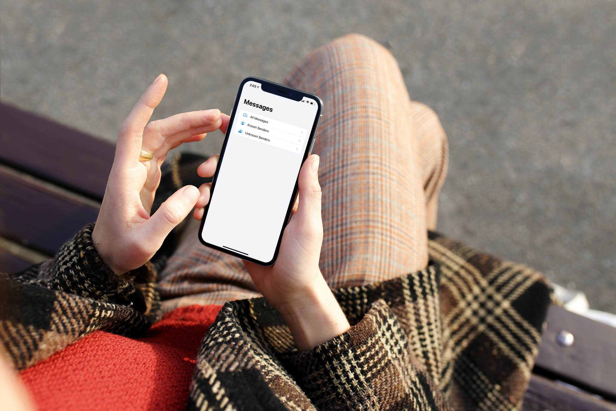 iOS 14 Messages - new message filtering interface on iPhone