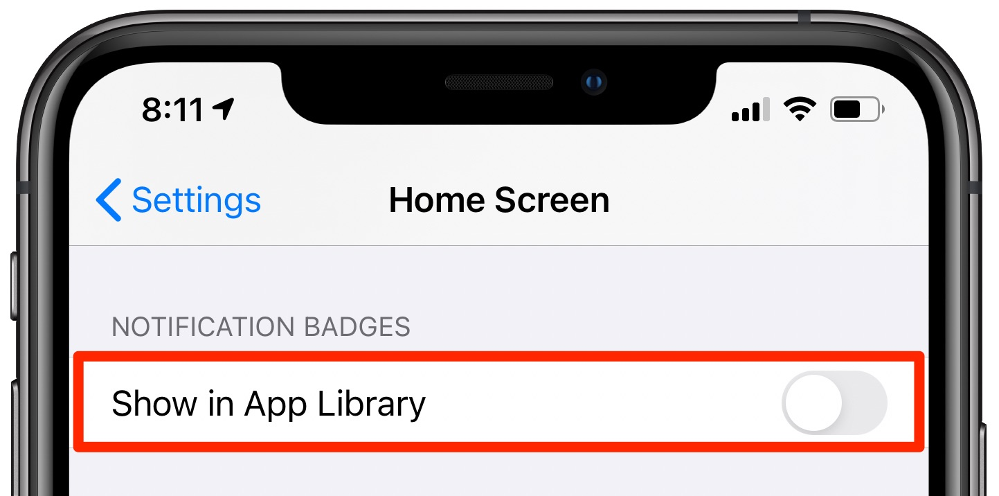 "Hide notification badges App Library - The ""Show in App Library"" toggle disabled in the Home Screen settings"