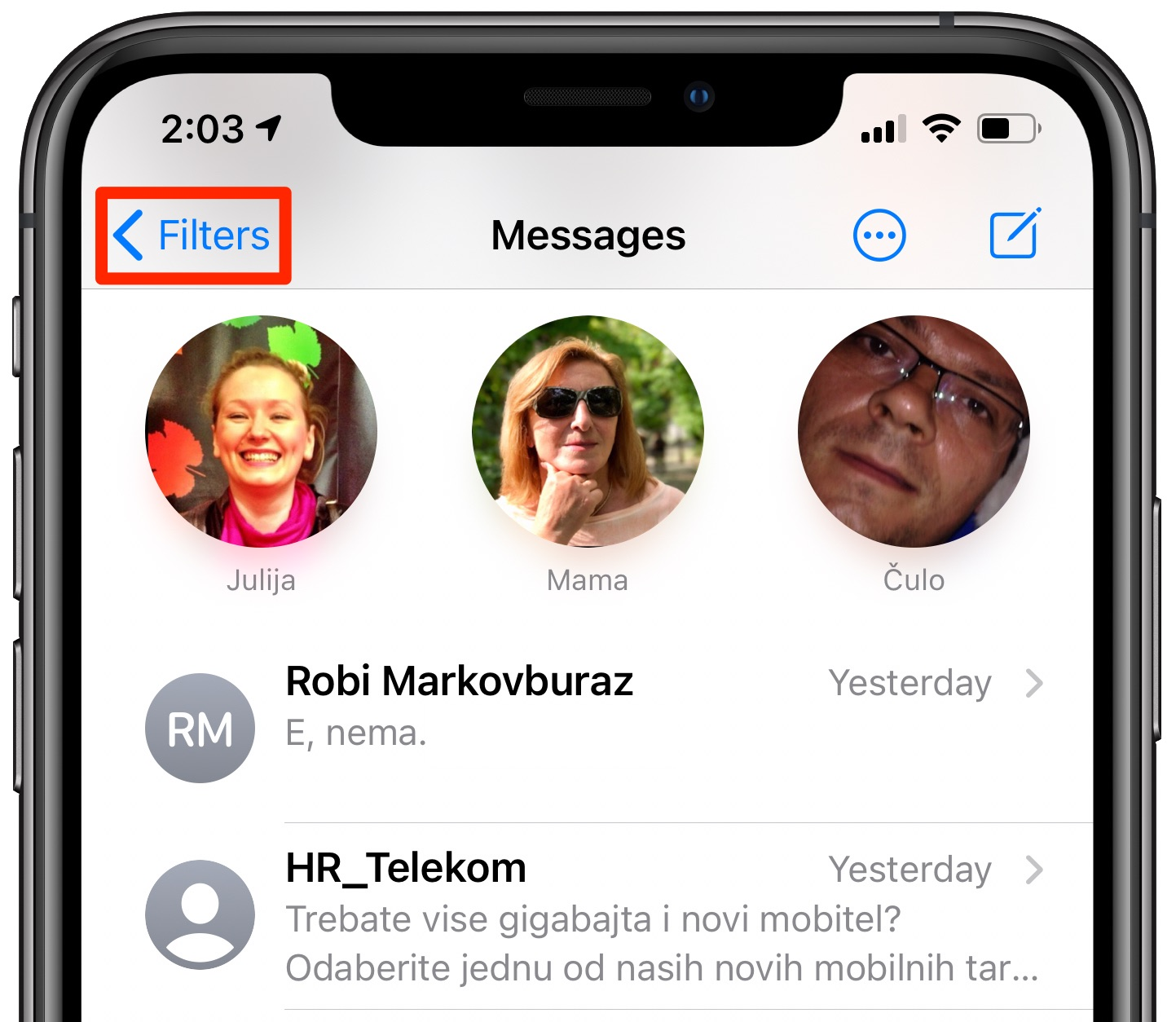 iOS 14 Messages filtering - the Filters button
