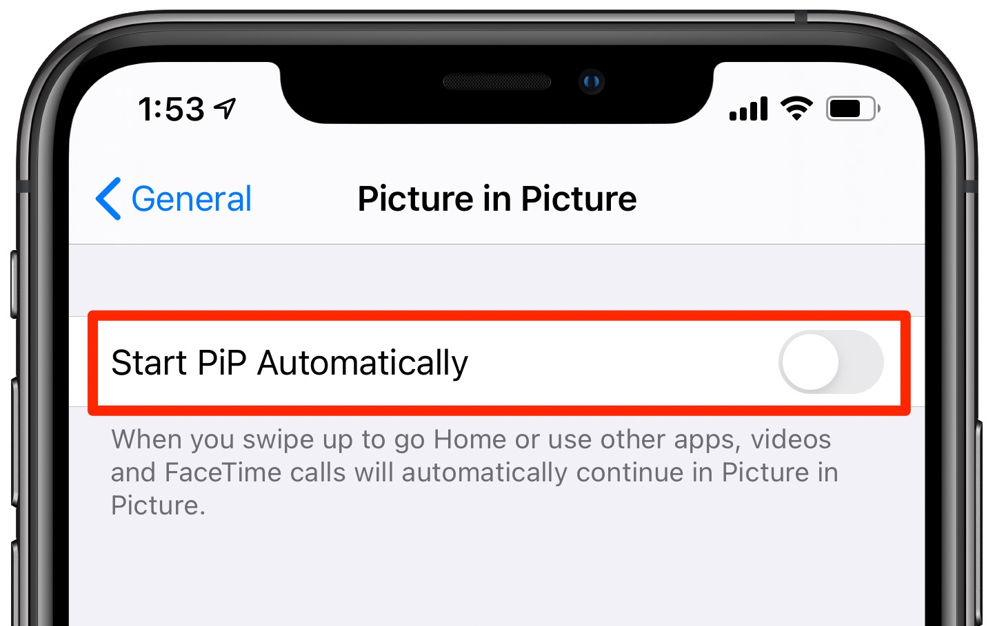 Picture in Picture on iPhone - the Start PiP Automatically setting is disabled