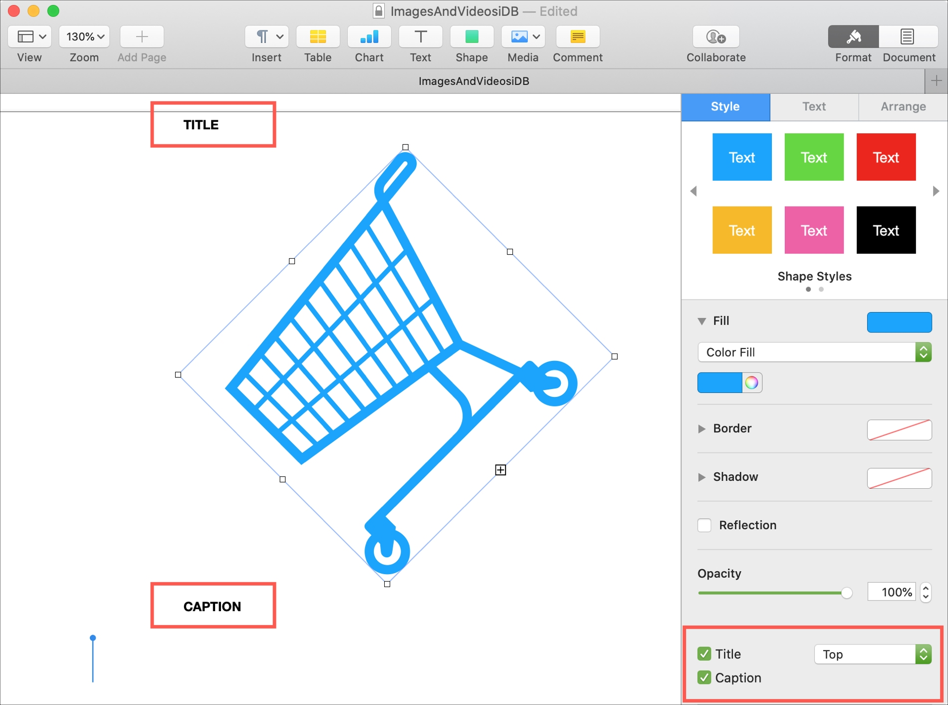 Add Title and Caption to Object Pages Mac