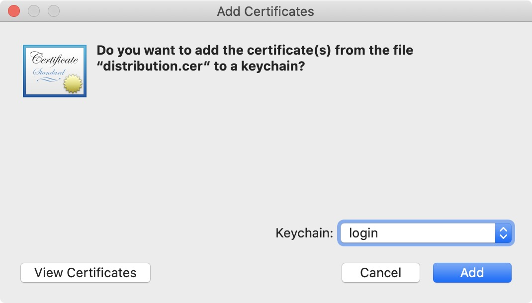 Add distribution certificate to keychain