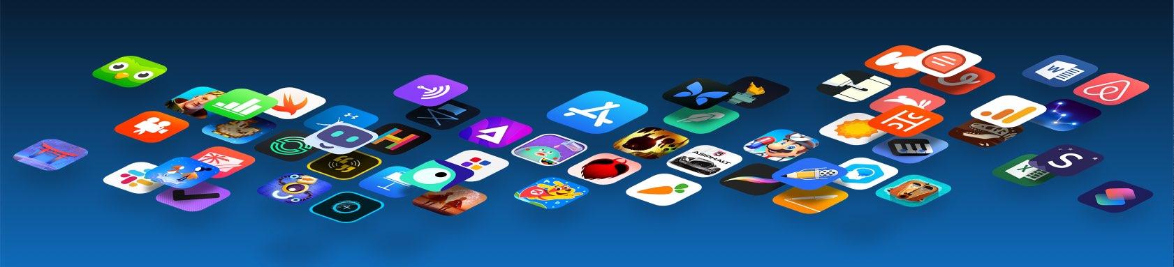 Taser image representing floating App Store app icons
