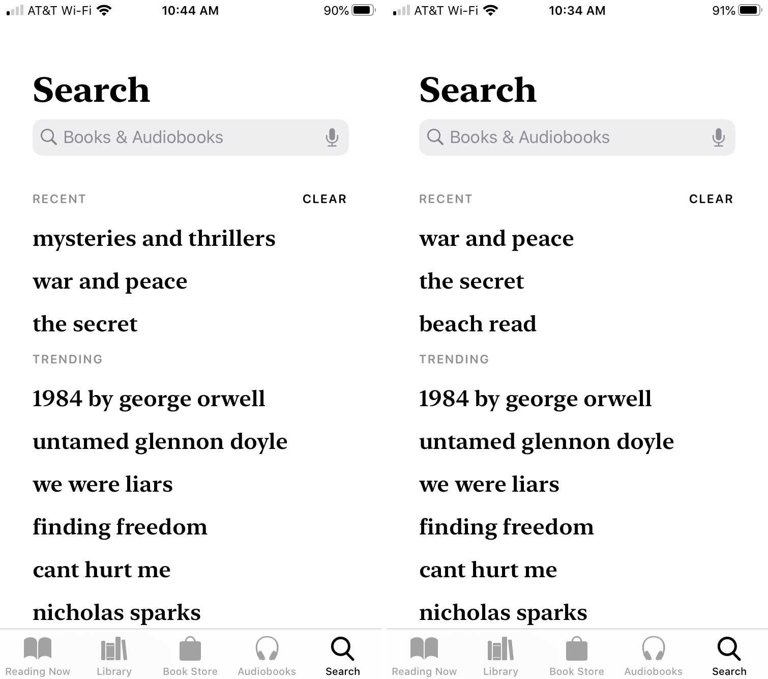 Books on iPhone Recent Searches