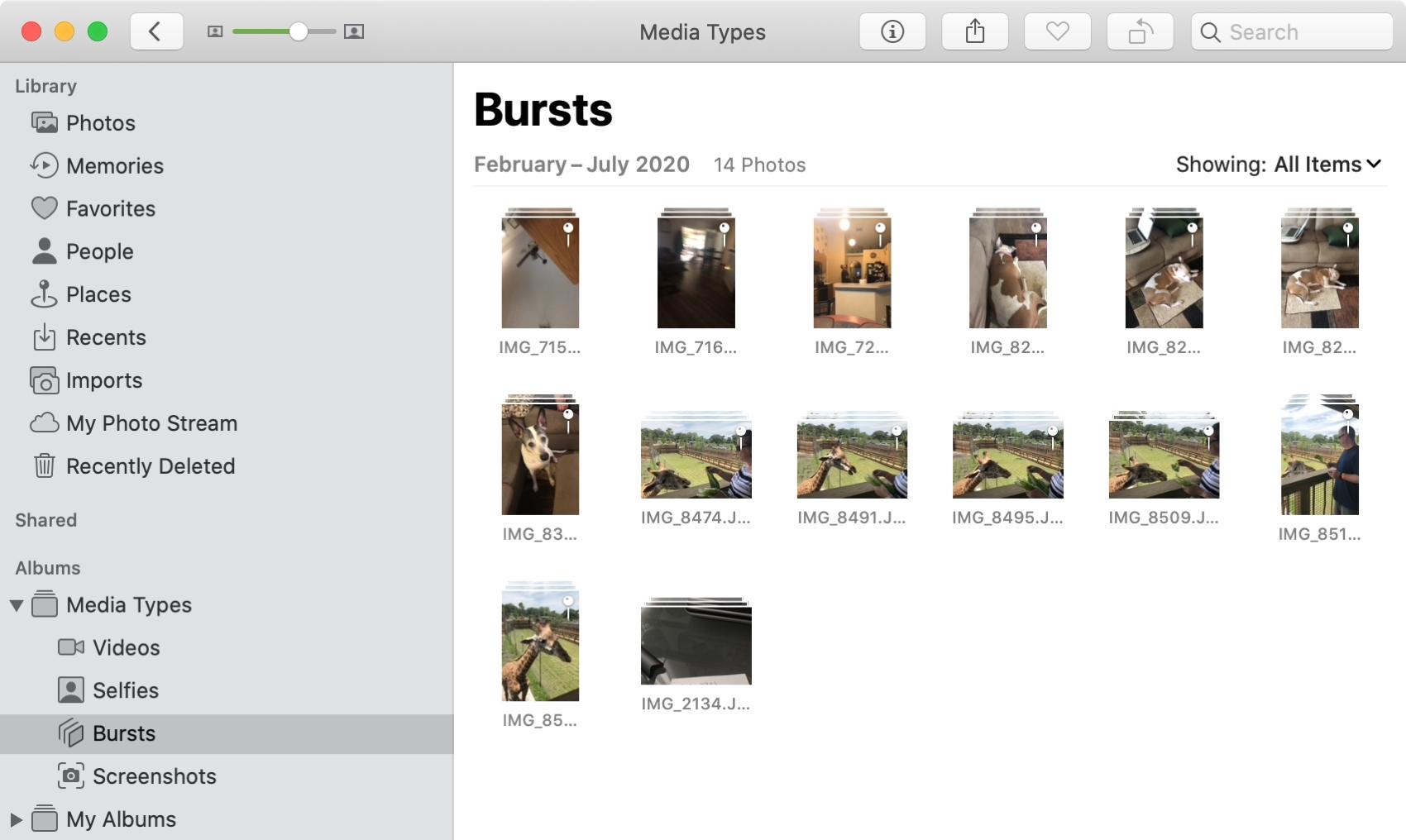 Bursts Album in Photos on Mac