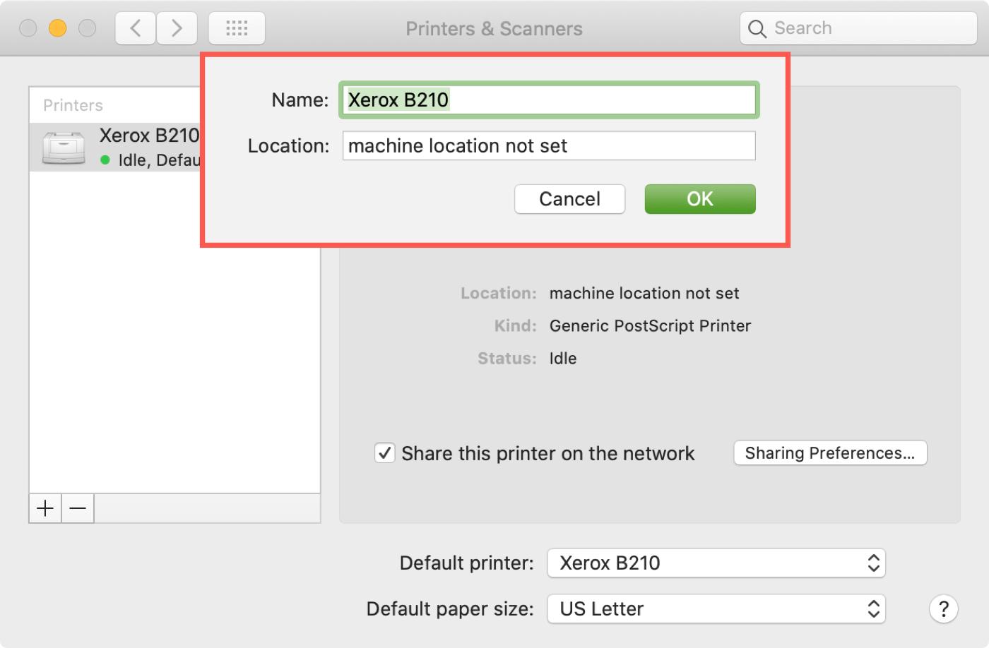 Change Printer Name Location on Mac