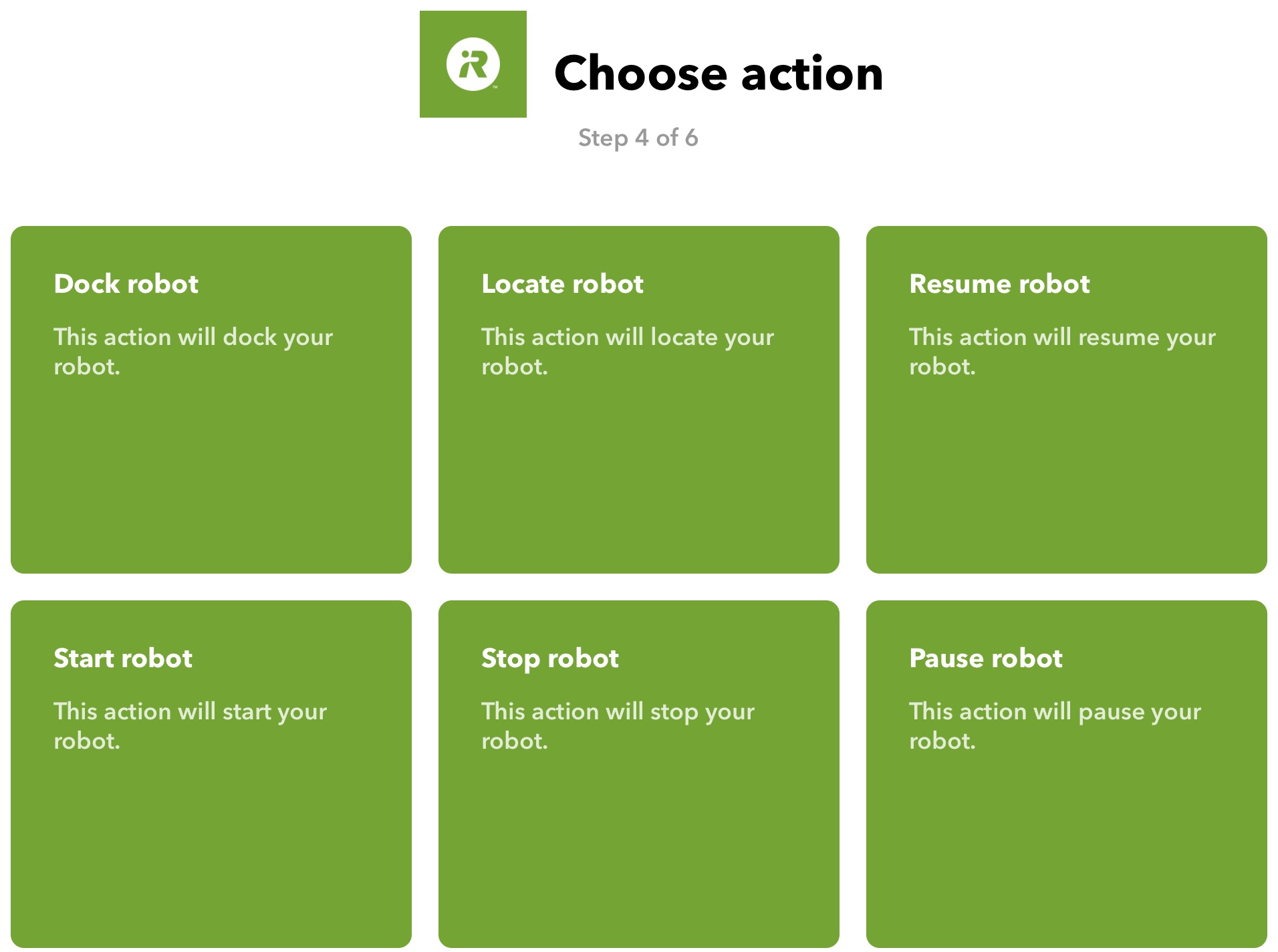 Choose action to control your Roomba