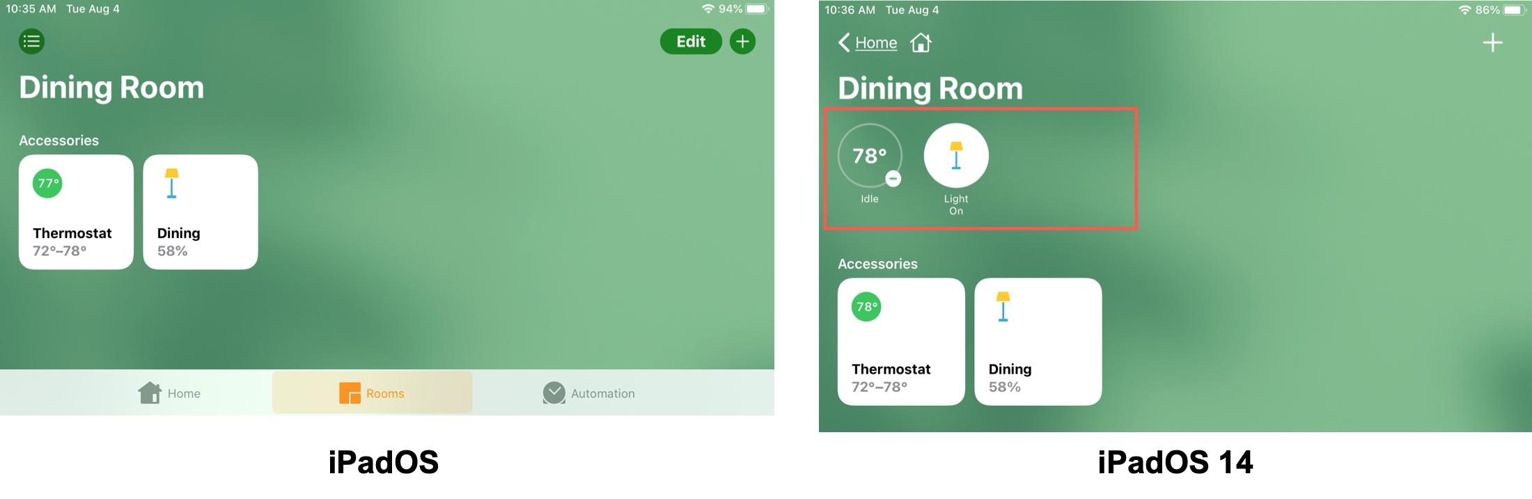 Room Status iPadOS vs iPadOS 14