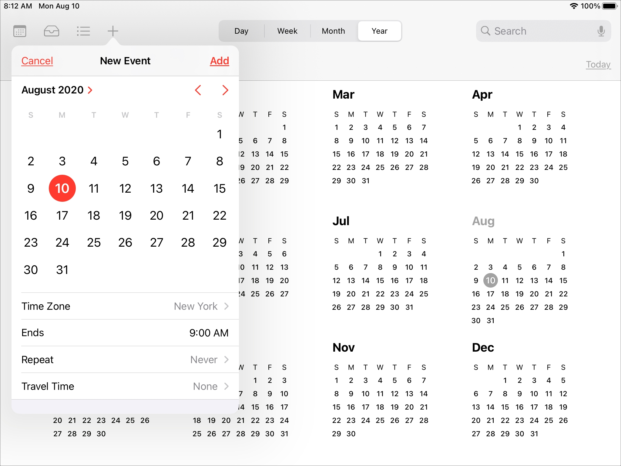 Enhanced Date Picker Calendar iPad