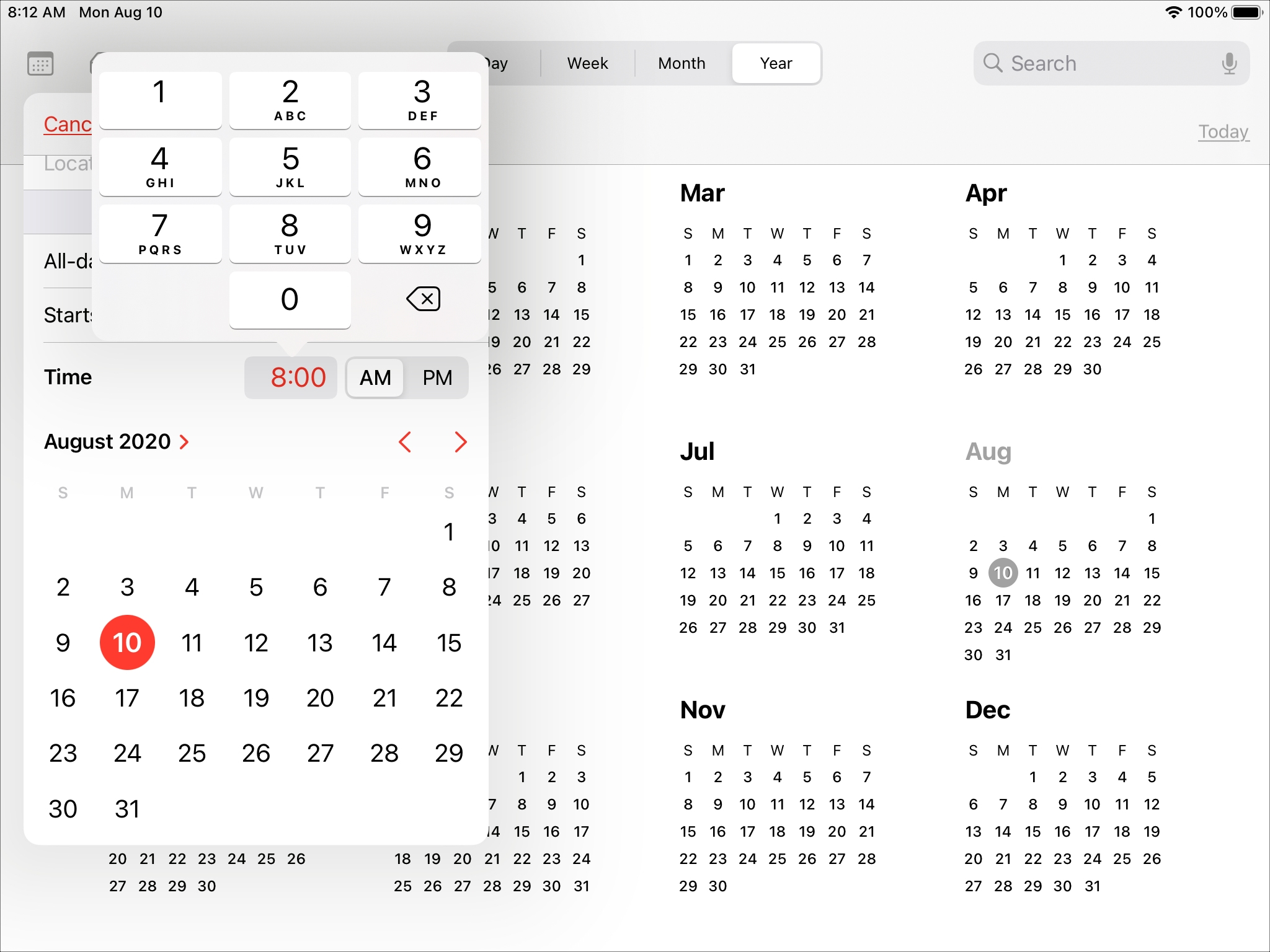 Enhanced Time Picker Calendar iPad