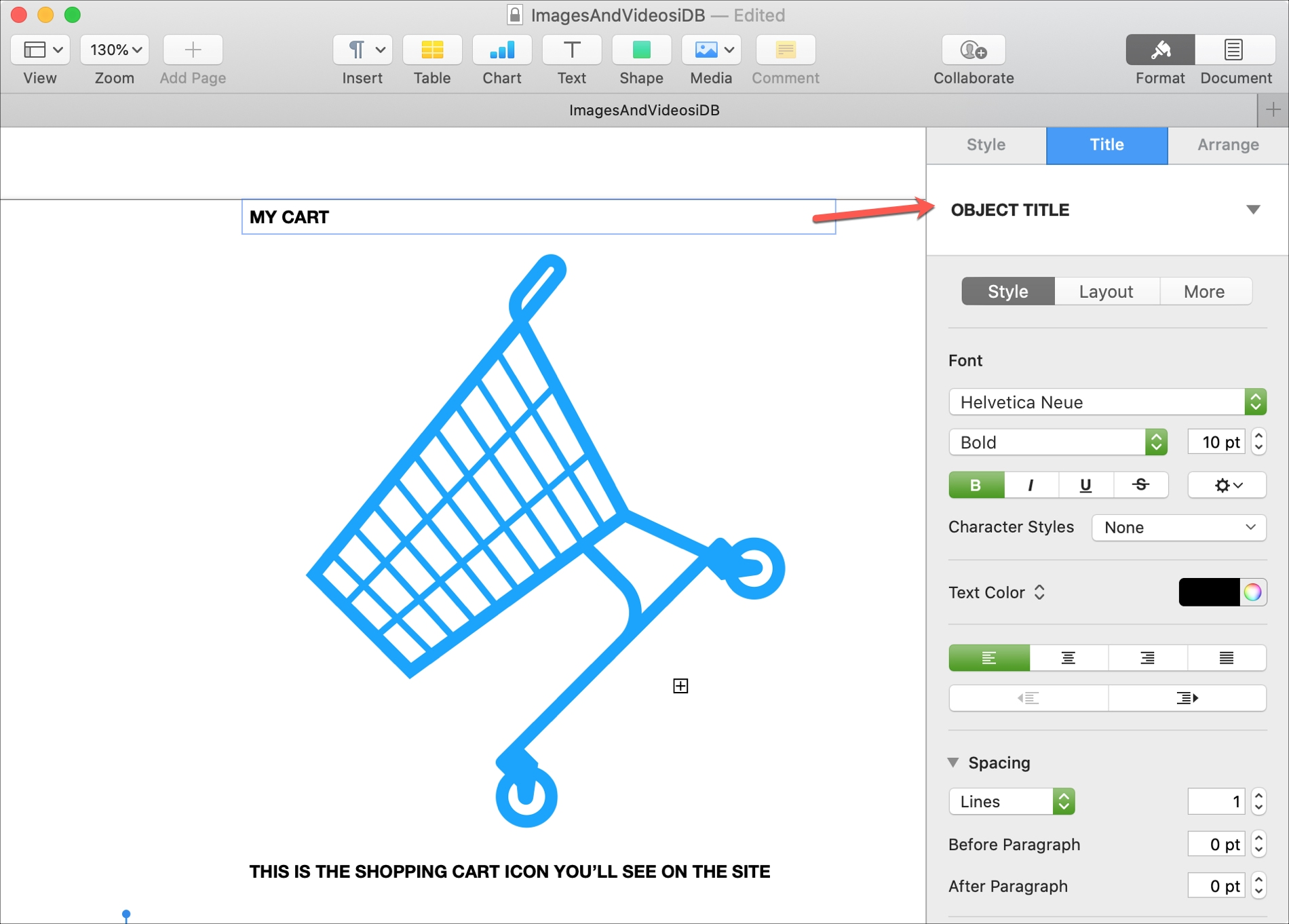Format Title and Caption to Object Pages Mac