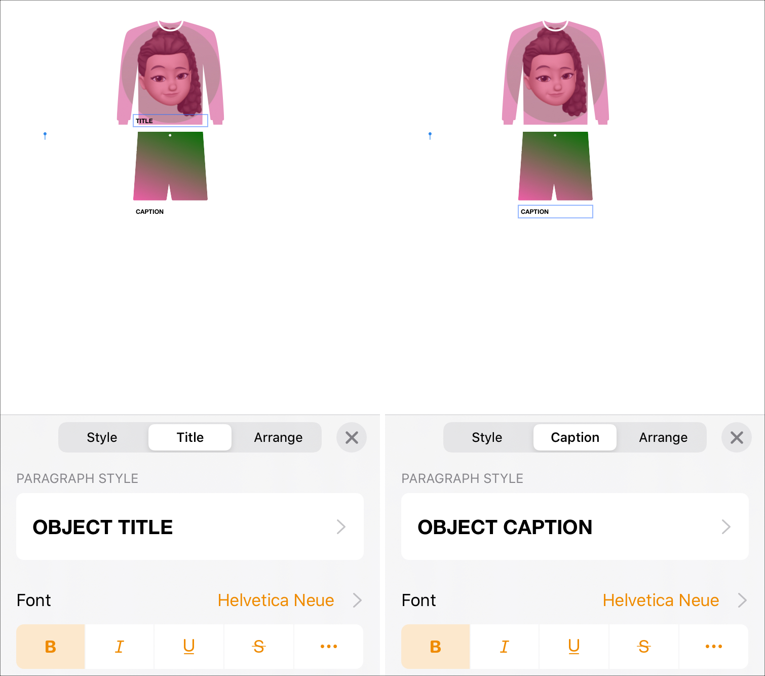 Format Title and Caption to Object Pages iPhone