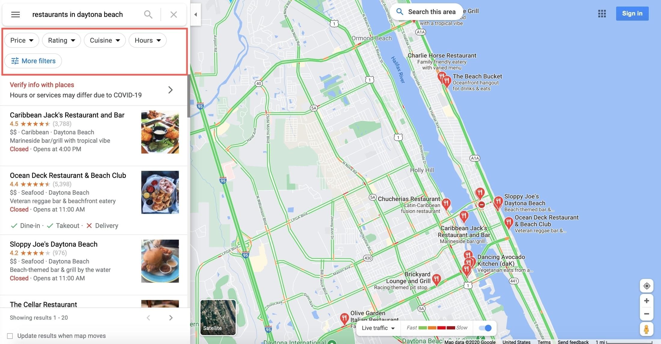 Google Maps Filters Web