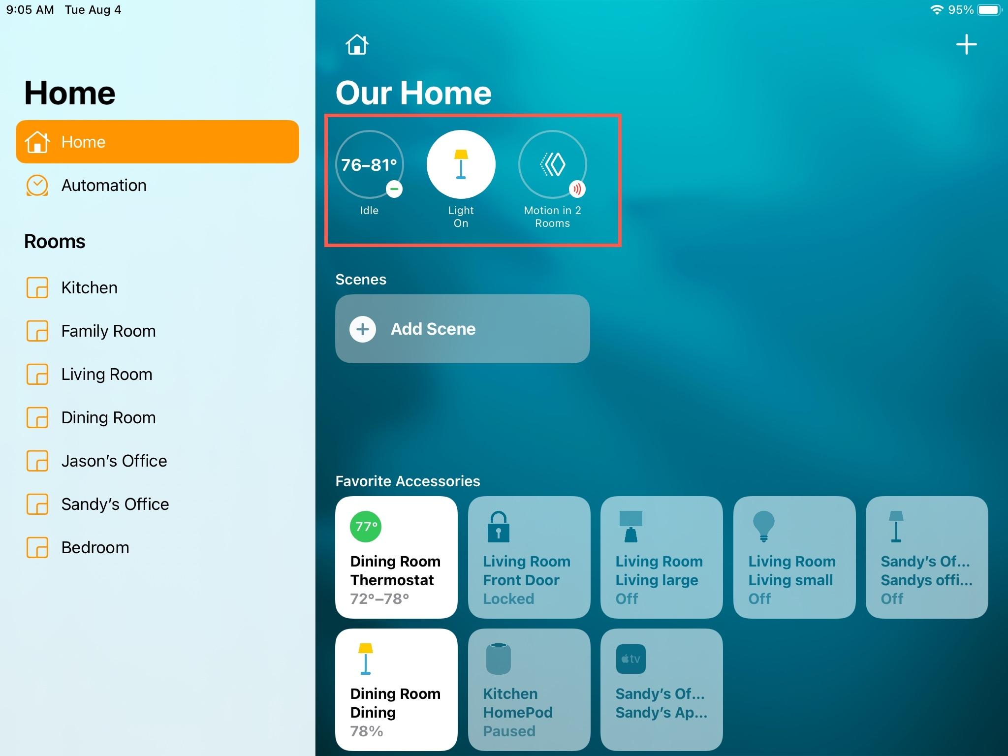 Home App Status iPad