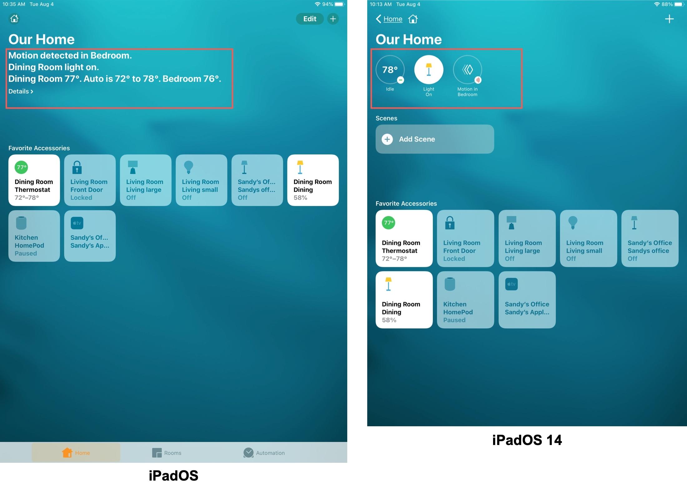 Home App Status iPadOS vs iPadOS 14
