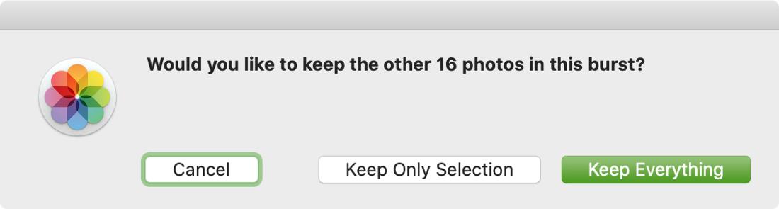 Keep Other Burst Photos Message on Mac