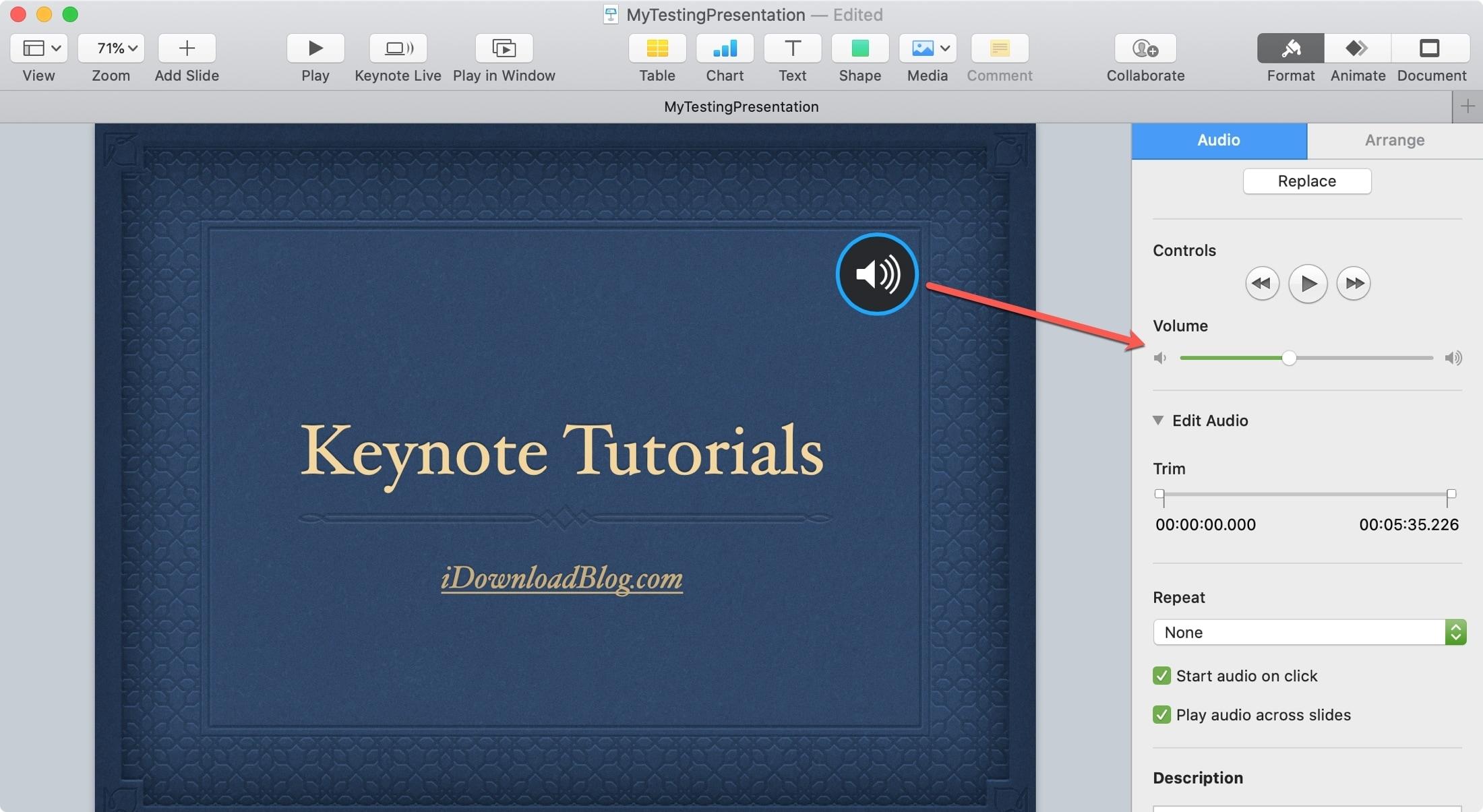 Keynote Mac Adjust Volume Audio