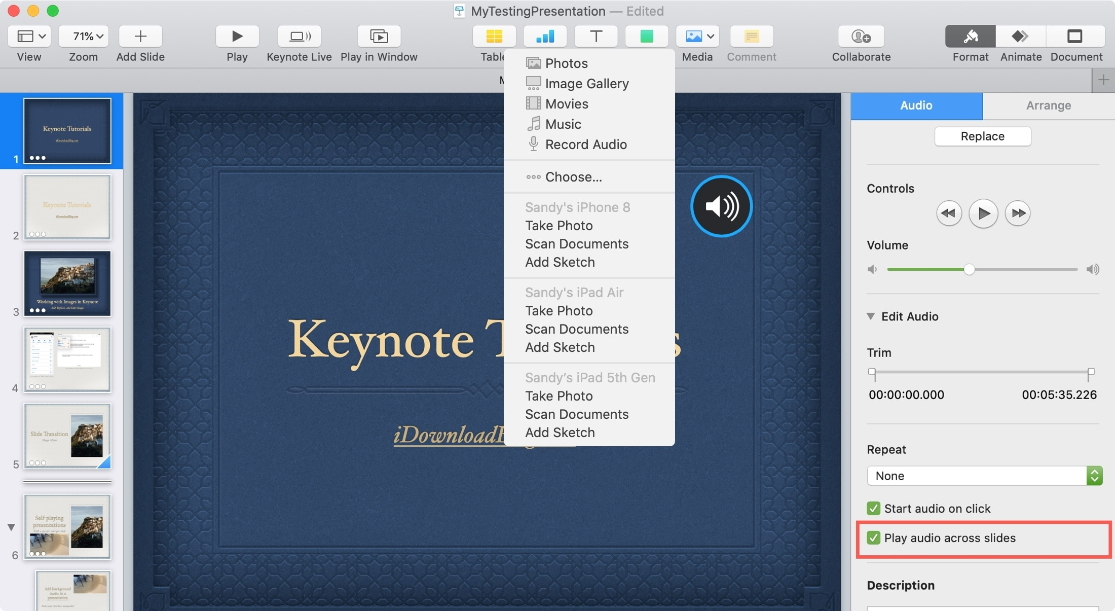 Keynote Mac Insert File and Play Across Slides