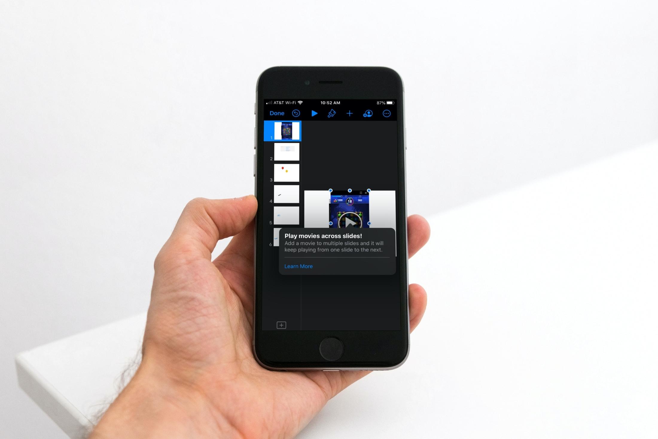 Keynote iPhone Play Movie Across Slides