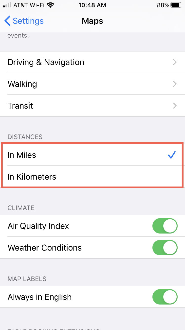 Maps on iPhone Change Distance Unit