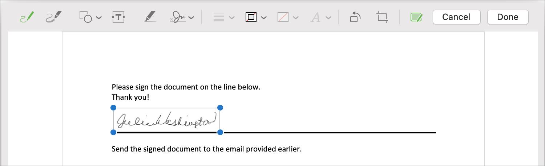 Markup Mac Signature on Document