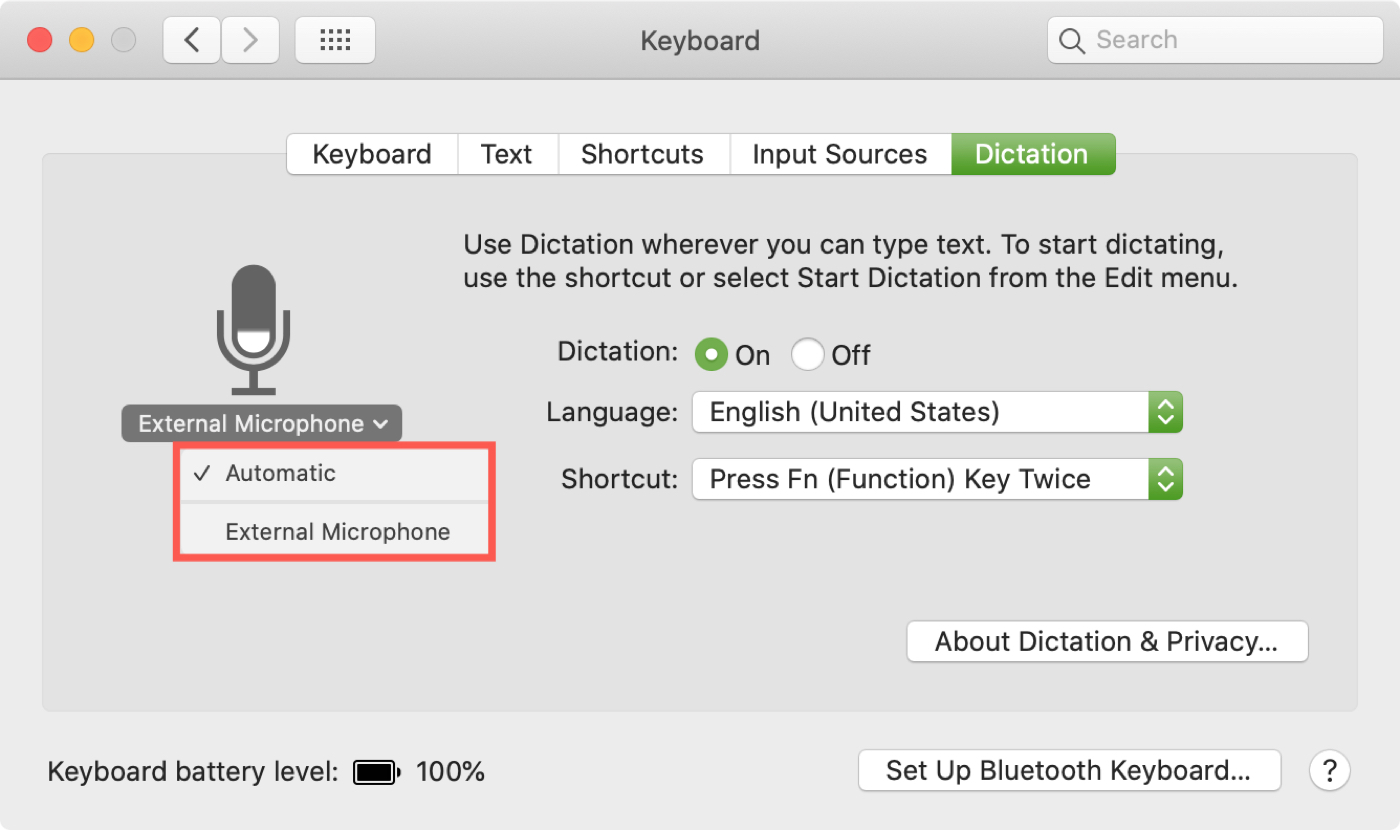 Pick Dictation Microphone on Mac