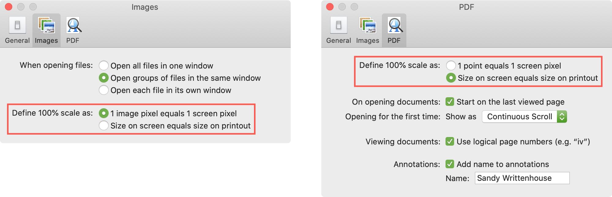 Preview Preferences Image PDF Sizes