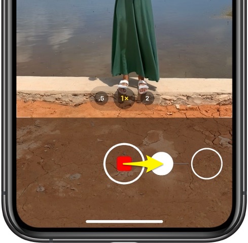 iPhone camera QuickTake - slide to the right to lock recording
