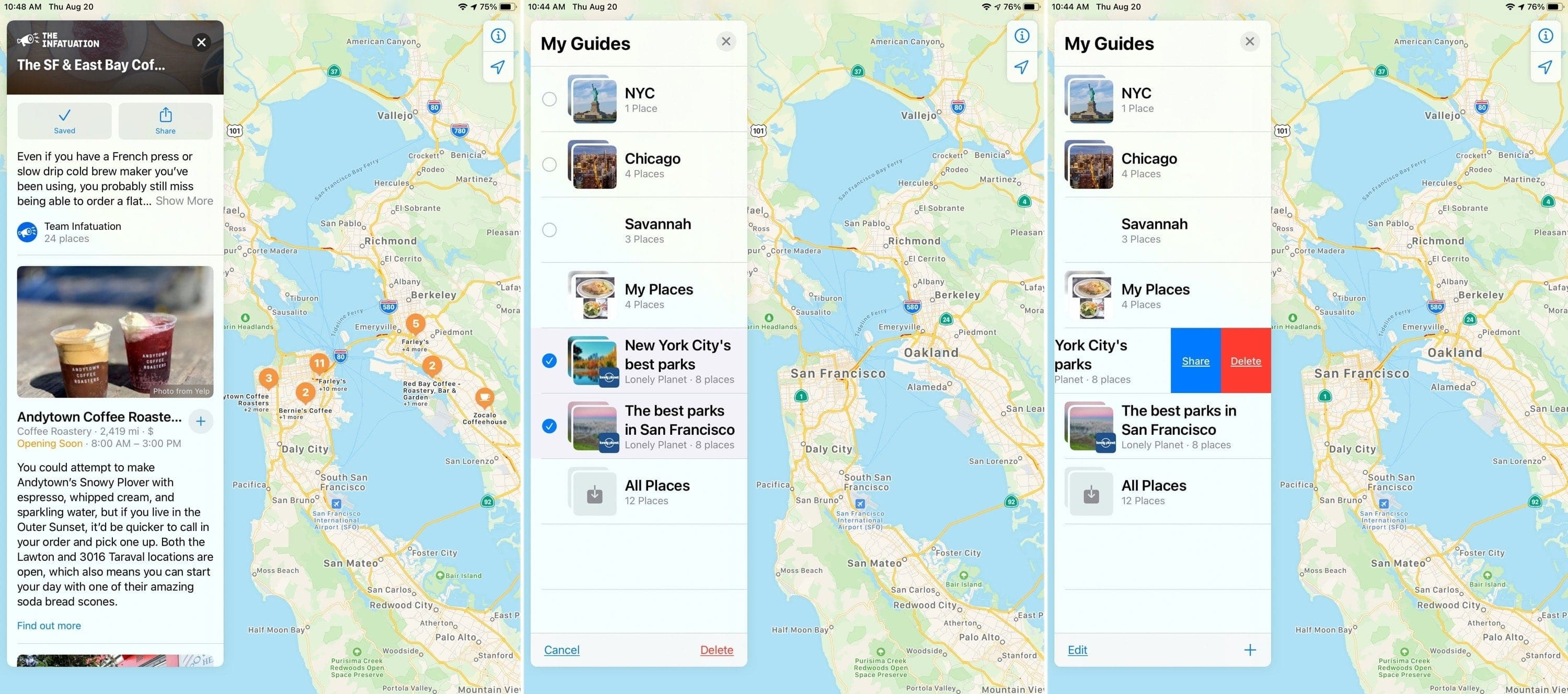 Remove Saved Guides Maps iPad