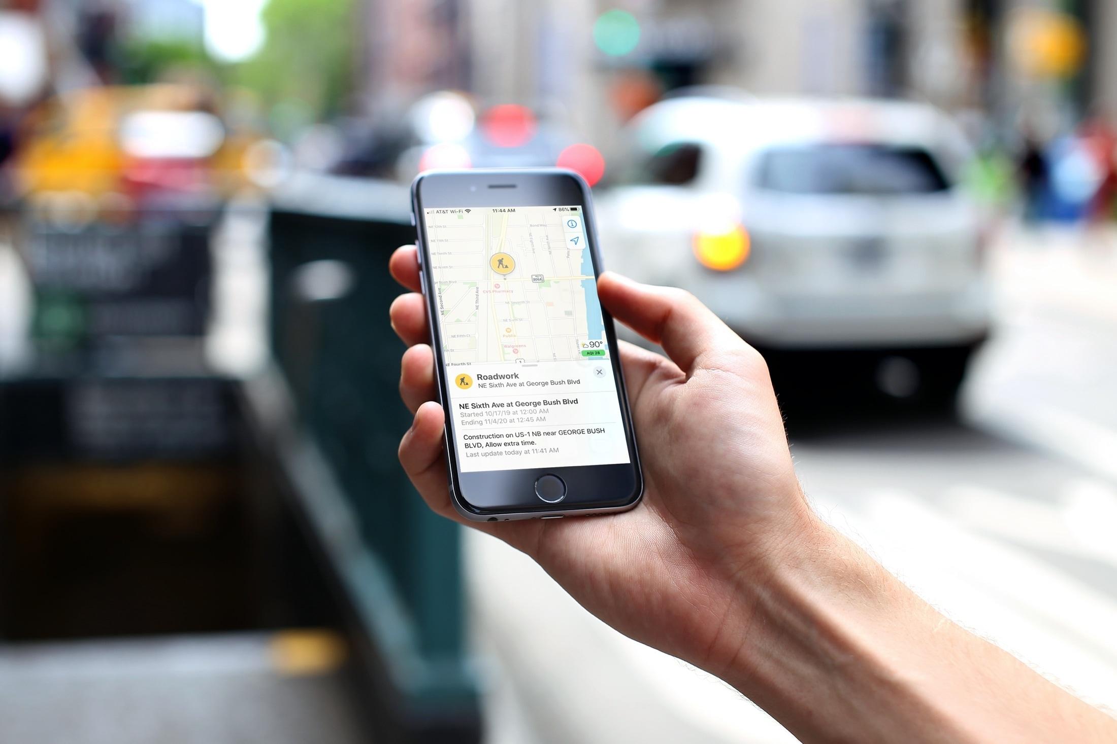 Roadwork Marker in Apple Maps iPhone