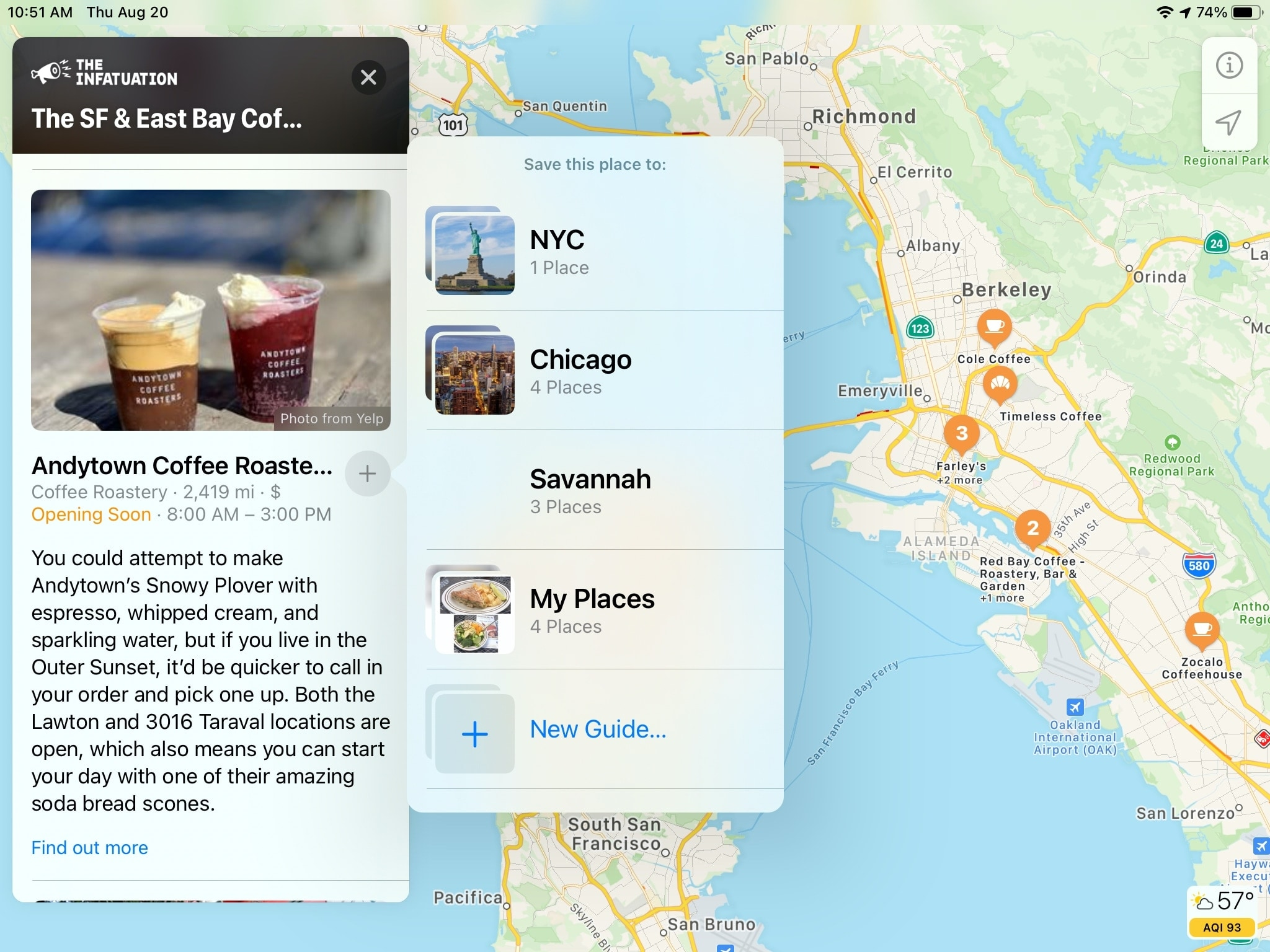 SF City Guide Coffee Shop Maps iPad