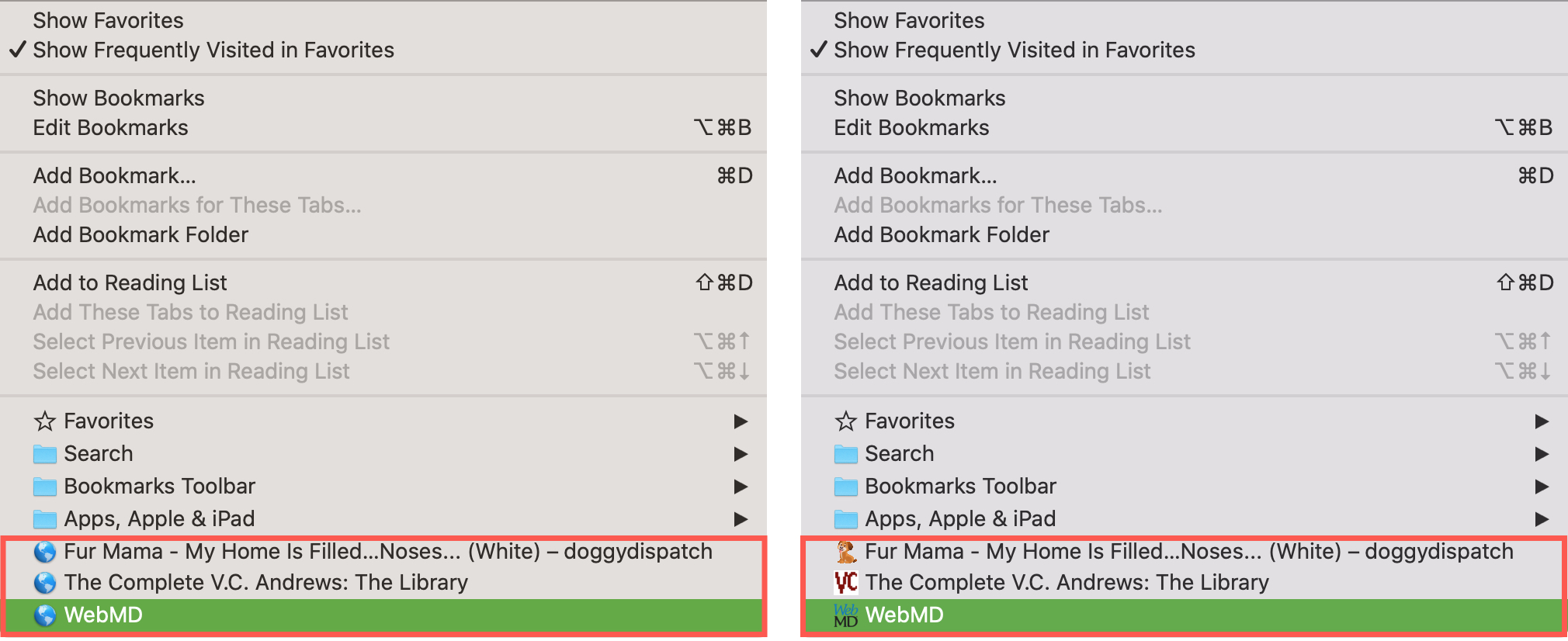 Safari Bookmarks With and Without Favicons