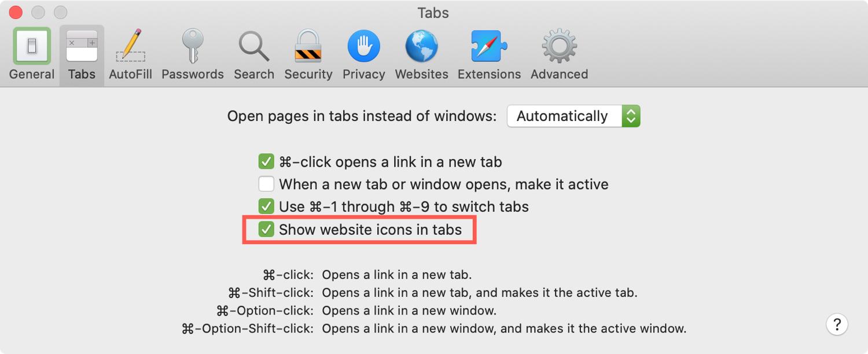 Safari Enable Favicons in Tabs Mac