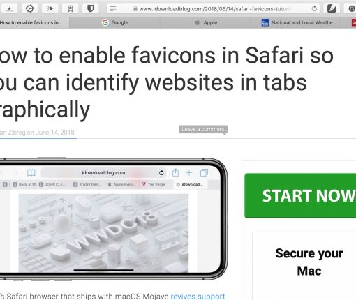 Safari Showing Favicons on Mac