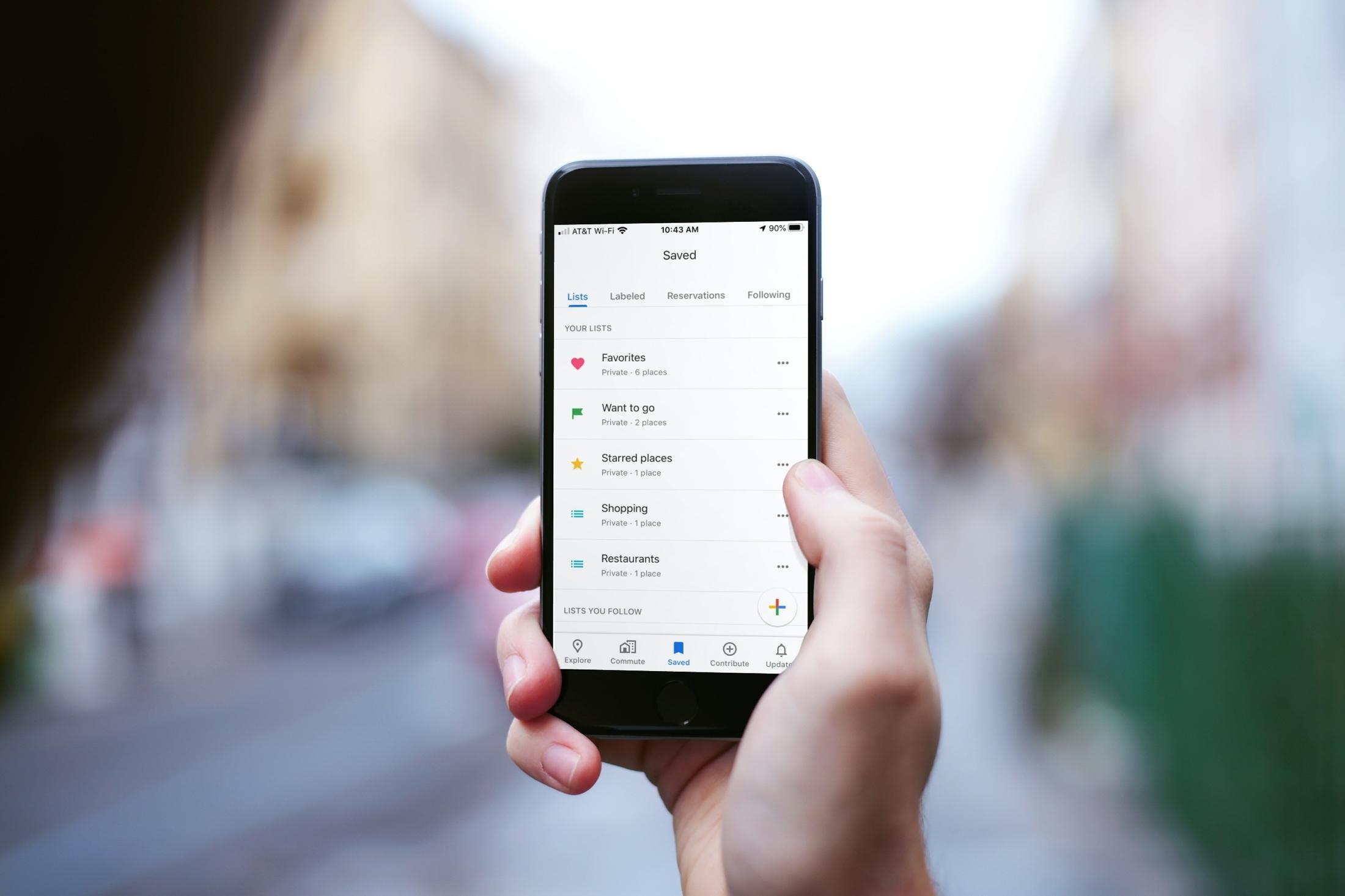 Saved Google Maps Lists iPhone