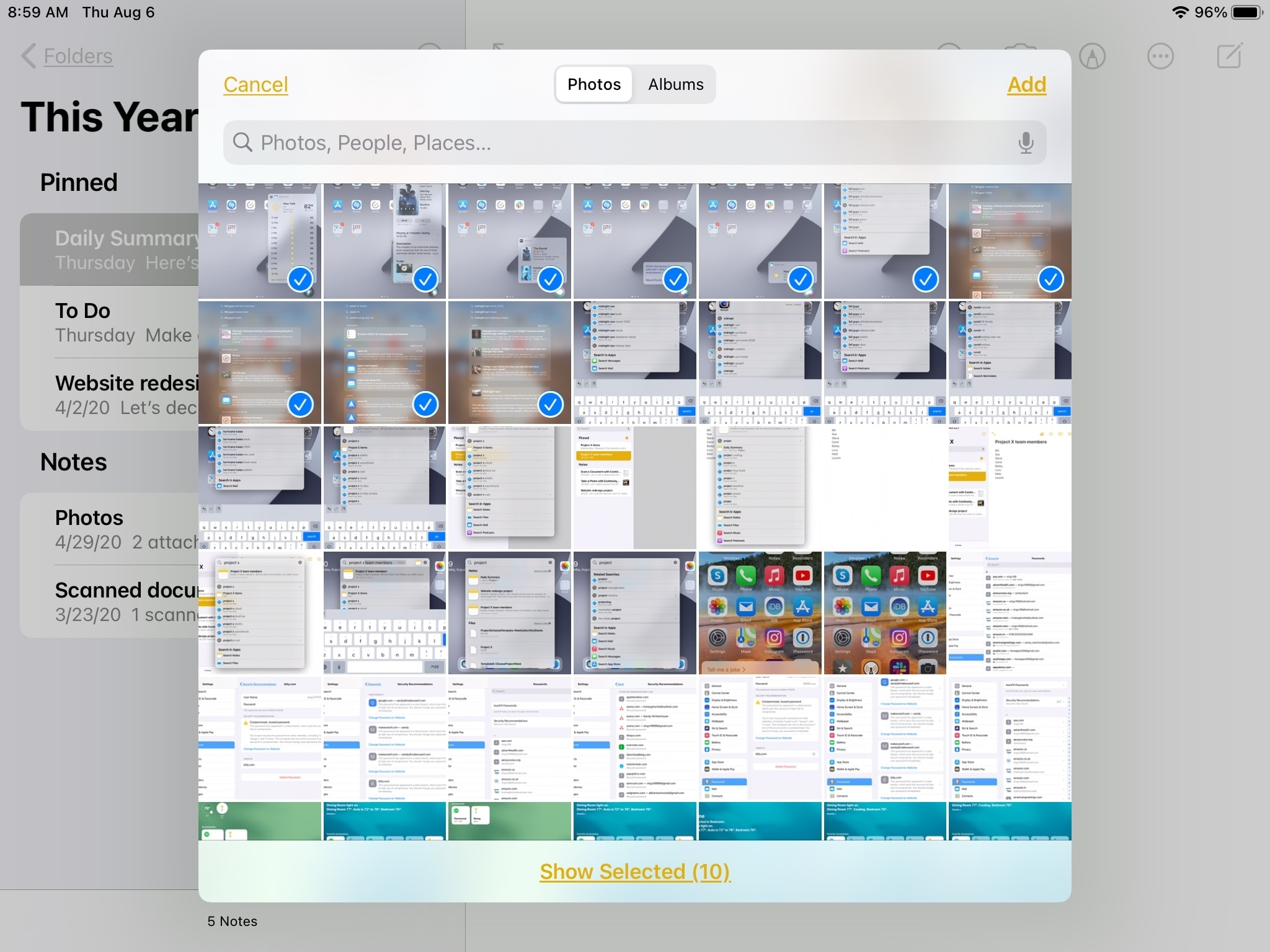 Selected Images in Picker iPad