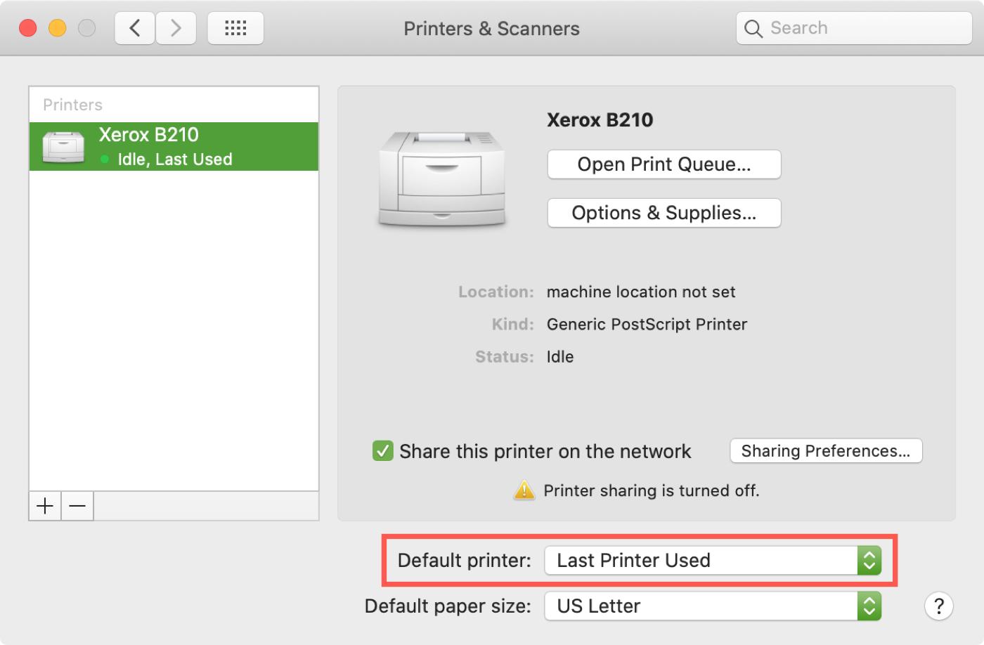 Set Default Printer Last Used on Mac