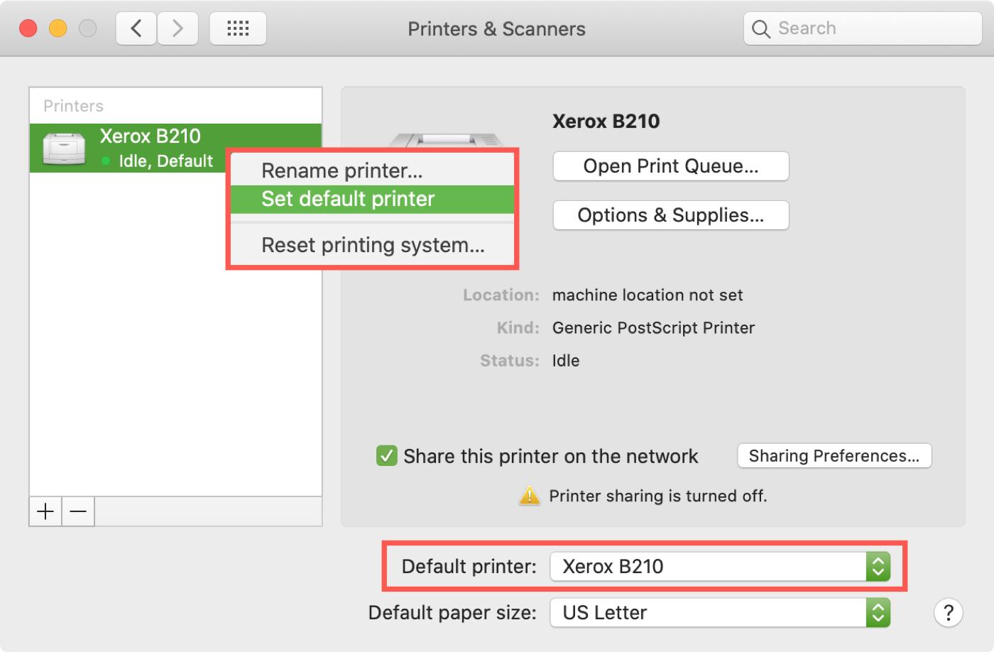 Set Default Printer on Mac
