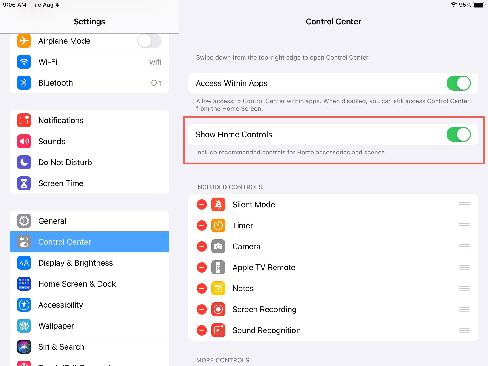Settings Show Home Controls iPad