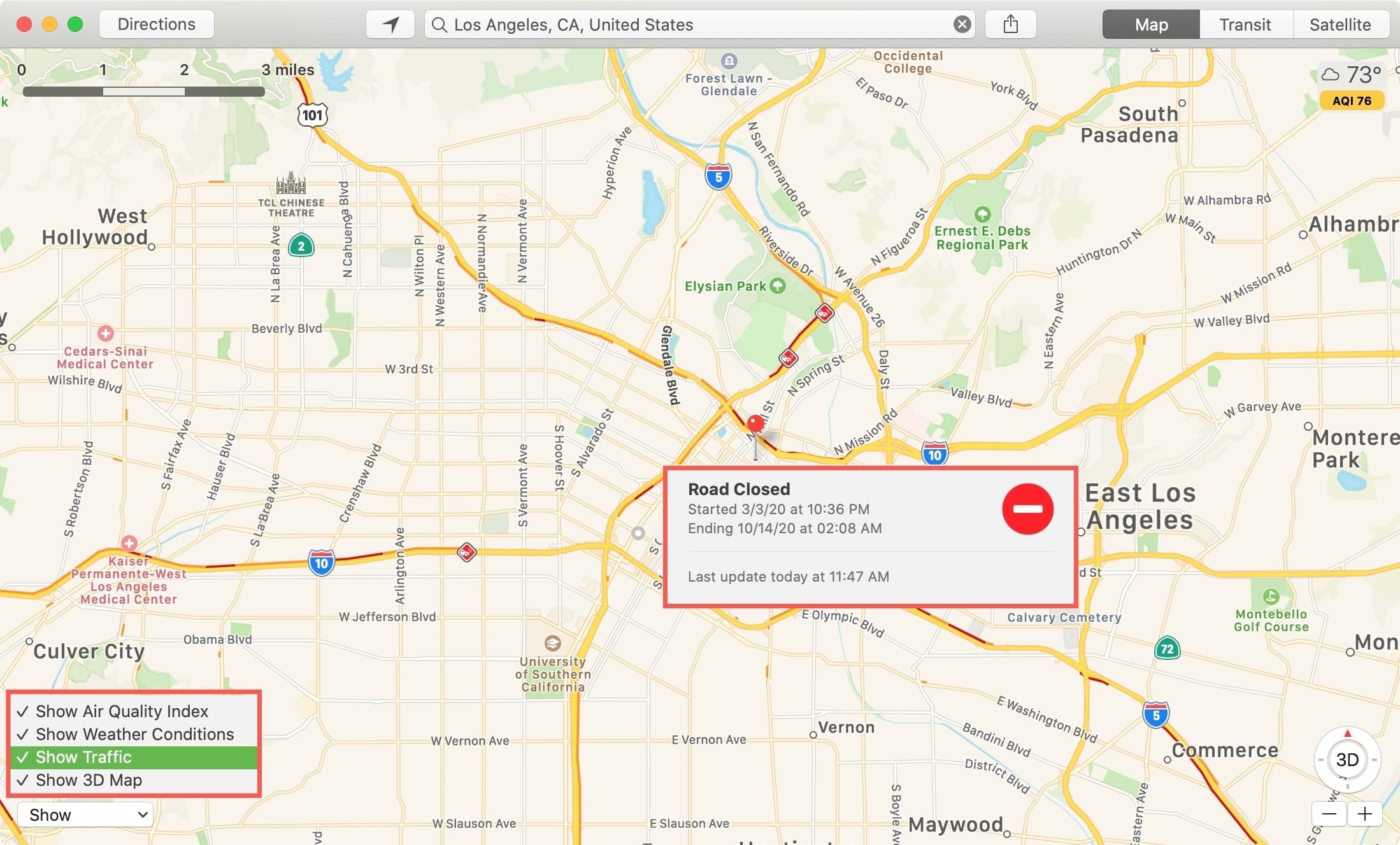 Show Traffic in Apple Maps on Mac